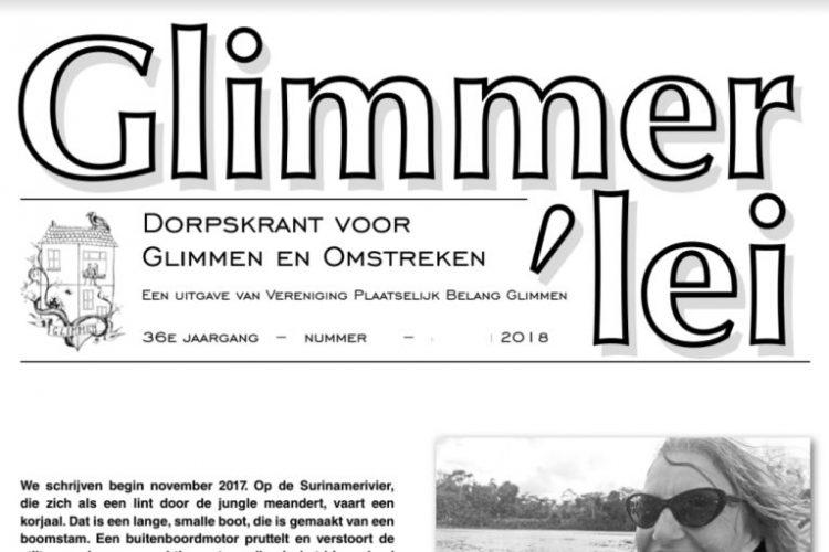Glimmer'lei is als uitgave vanVereniging Plaatselijk BelangGlimmen een onafhankelijkedorpskrant. De krant verschijntmet uitzondering van juli enaugustus iedere maand. Bekijk hier de Glimmer'lei van januari 2018.