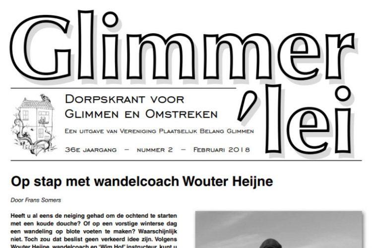 Glimmer'lei is als uitgave vanVereniging Plaatselijk BelangGlimmen een onafhankelijkedorpskrant. De krant verschijntmet uitzondering van juli enaugustus iedere maand. Bekijk hier de Glimmer'lei van juni 2018. De volgende Glimmer'lei verschijnt in september.