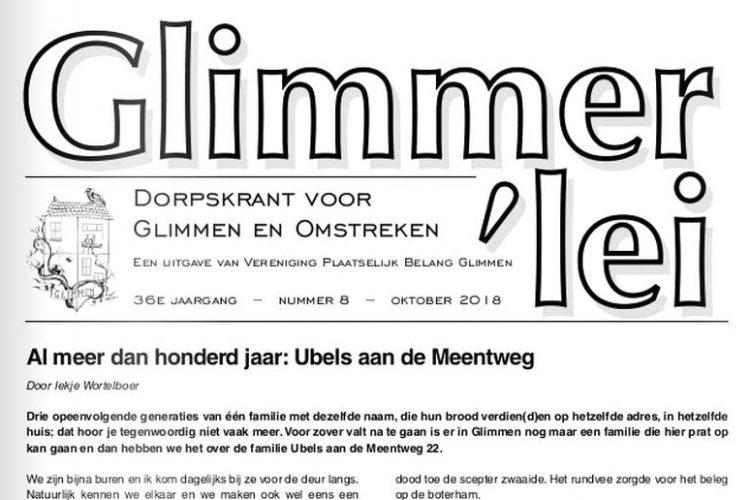 Glimmer'lei is als uitgave vanVereniging Plaatselijk BelangGlimmen een onafhankelijkedorpskrant. De krant verschijntmet uitzondering van juli enaugustus iedere maand. Bekijk hier de Glimmer'lei van november 2018.