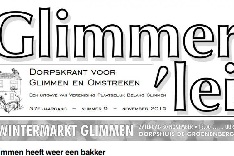 Glimmer'lei is als uitgave vanVereniging Plaatselijk BelangGlimmen een onafhankelijkedorpskrant. De krant verschijntmet uitzondering van juli enaugustus iedere maand. Bekijk hier de Glimmer'lei van november 2019.