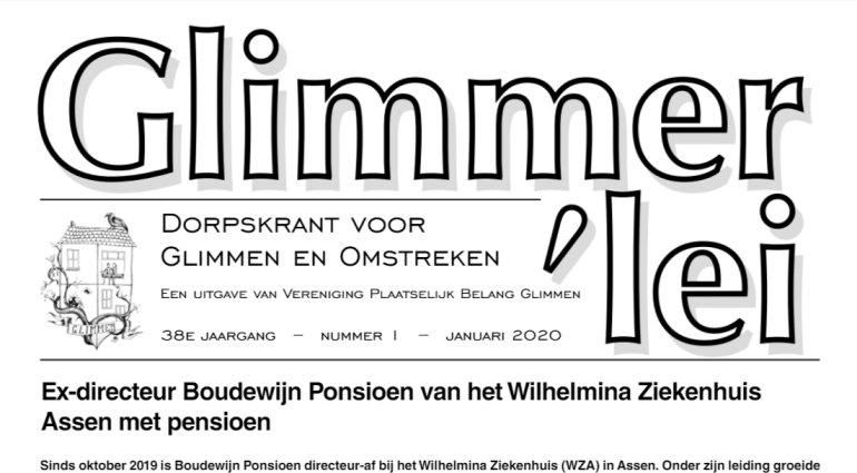 Glimmer'lei is als uitgave vanVereniging Plaatselijk BelangGlimmen een onafhankelijkedorpskrant. De krant verschijntmet uitzondering van juli enaugustus iedere maand. Bekijk hier de Glimmer'lei van maart 2020.