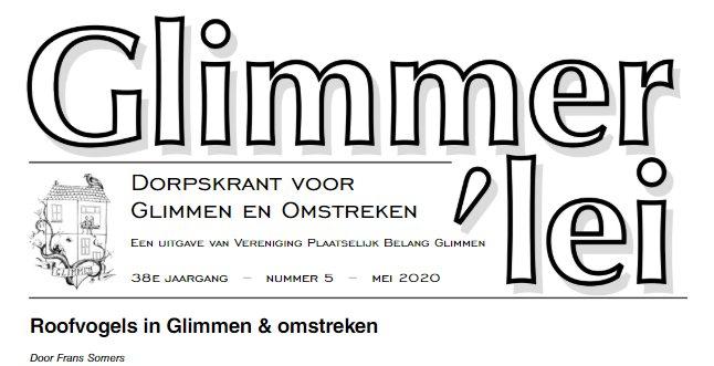 Glimmer'lei is als uitgave vanVereniging Plaatselijk BelangGlimmen een onafhankelijkedorpskrant. De krant verschijntmet uitzondering van juli enaugustus iedere maand. Bekijk hier online de Glimmer'lei